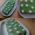 Zebrakuchen mit Schokocanache-Füllung, Fonant-Hülle und Blumen aus Fondant
