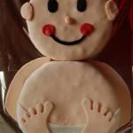 Baby-Torte mit Rührteig und Fondant zur Geburt, Taufe, Babyparty und Co.